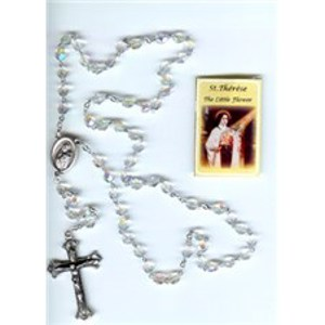 St. Therese silver rosary with Prayer Card