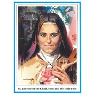 St Therese Holy Face Prayer Card